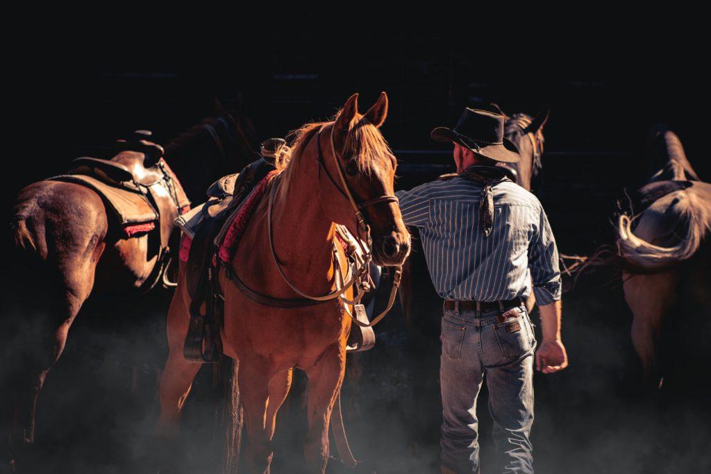A man standing next to a horse